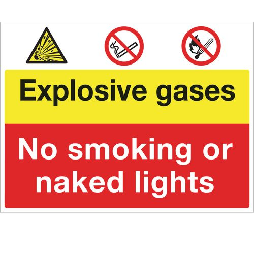 Sign Exposive Gases No Smoking 600X450 Rigid Plastic