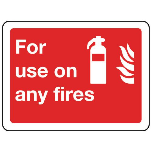 Sign For Use On Any Fires 100x75 Rigid Plastic