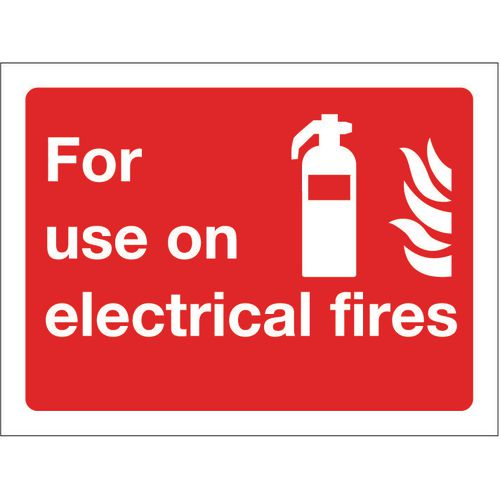 Sign For Use On Electrical Fires 200x150 Rigid Plastic