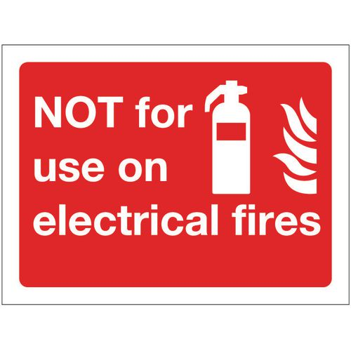 Sign Not For Use On Electrical Fires 100x75 Rigid Plastic