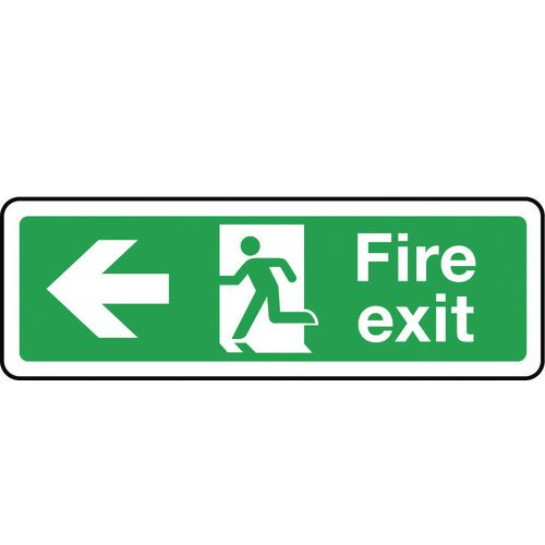 Sign Fire Exit Arrow Left 600x200 Rigid Plastic