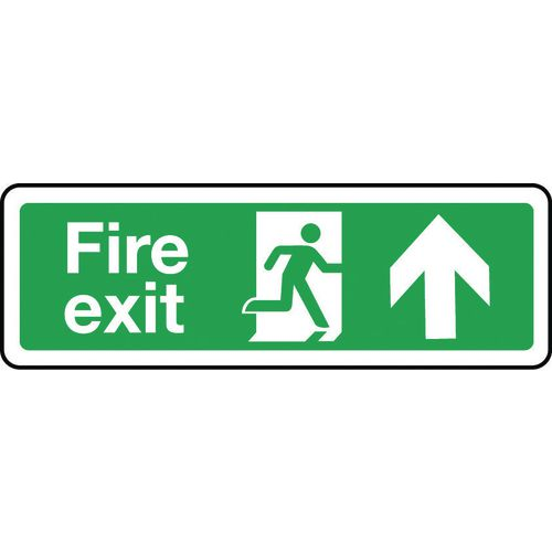 Sign Fire Exit Arrow Up 300x100 Rigid Plastic