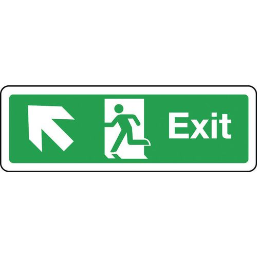 Sign Exit Arrow Up Left 300x100 Rigid Plastic