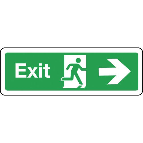 Sign Exit Arrow Right 300x100 Rigid Plastic