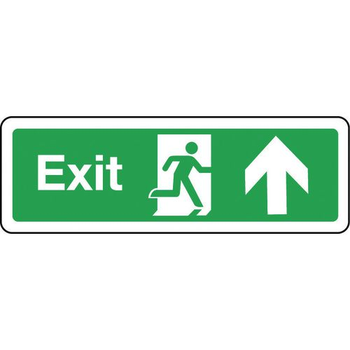 Sign Exit Arrow Up 300x100 Rigid Plastic