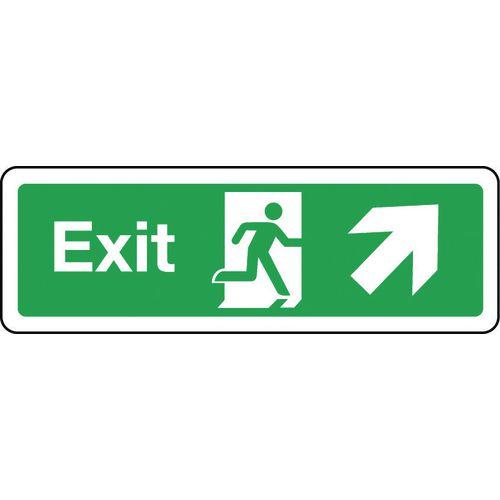 Sign Exit Arrow Up Right 300x100 Rigid Plastic
