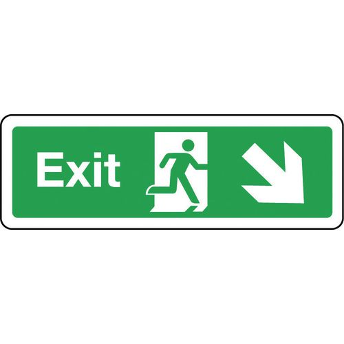 Sign Exit Arrow Down Right 300x100 Rigid Plastic