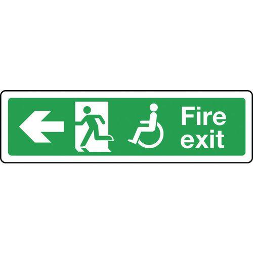 Sign Disabled Fire Exit Left 350x100 Rigid Plastic