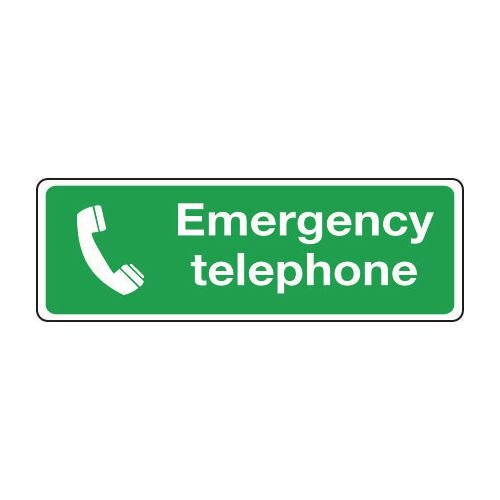 Sign Emergency Telephone 600x200 Rigid Plastic