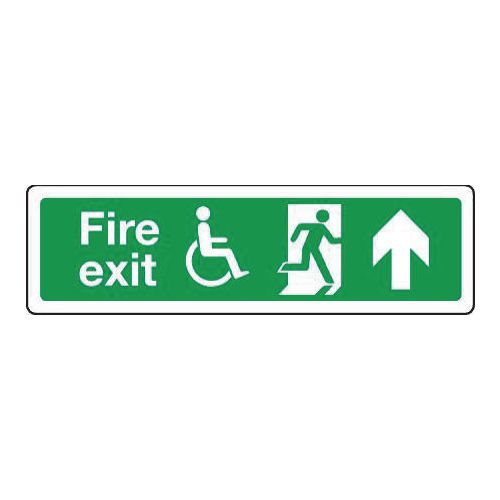 Sign Disabled Fire Exit Up 350x100 Rigid Plastic