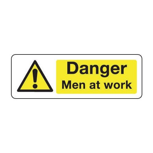 Sign Danger Men At Work 300x100 Rigid Plastic