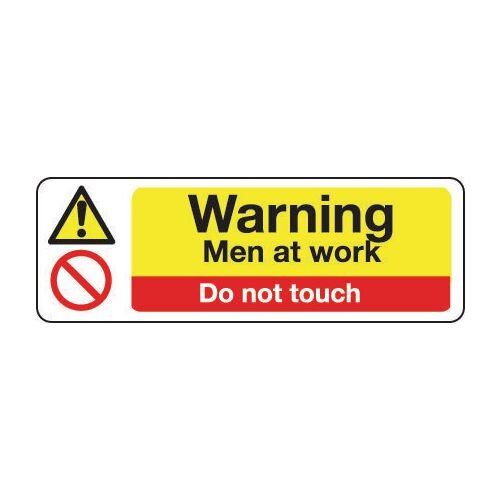 Sign Warning Men At Work 600x200 Rigid Plastic