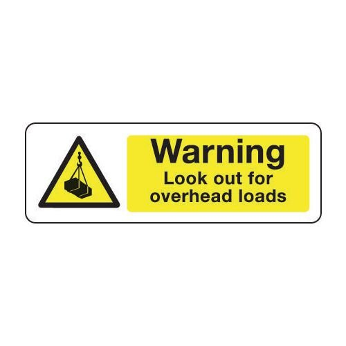 Sign Warning Look Out For Overhead 600X200 Rigid Plastic