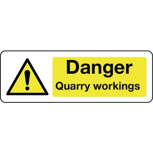 Sign Danger Quarry Workings 300x100 Rigid Plastic