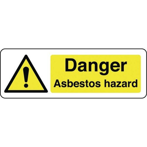 Sign Danger Asbestos Hazard 300x100 Rigid Plastic