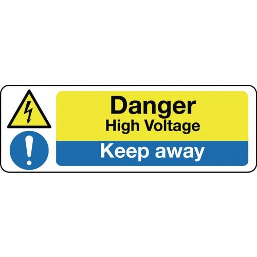 Sign Danger High Voltage Keep Away 600X200 Rgid Plastic