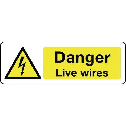 Sign Danger Live Wires 600x200 Rigid Plastic