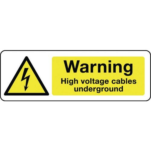 Sign Warning High Voltage Cables 600X200 Rigid Plastic Electrical Hazard Signs - Warning High Voltage Cables Underground