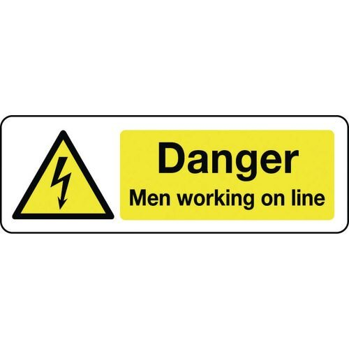 Sign Danger Men Working On Line 600x200 Rigid Plastic