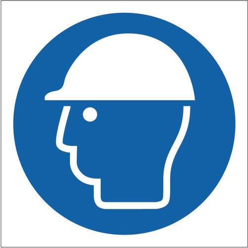 Sign Safety Helmet Pictorial 200x200 Rigid Plastic