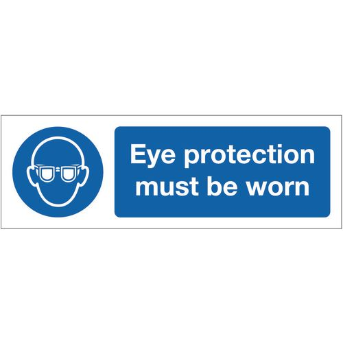 Sign Eye Protection Must Be Worn 600x200 Rigid Plastic