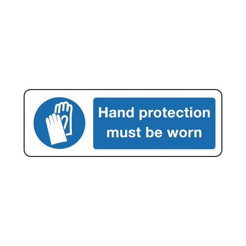 Sign Hand Protection Must 300x100 Rigid Plastic
