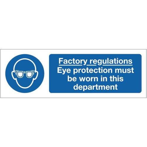 Sign Factory Regulations Eye 600x200 Rigid Plastic