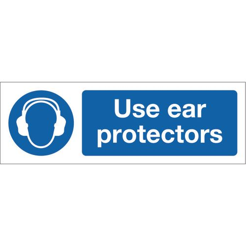 Sign Use Ear Protectors 300x100 Rigid Plastic