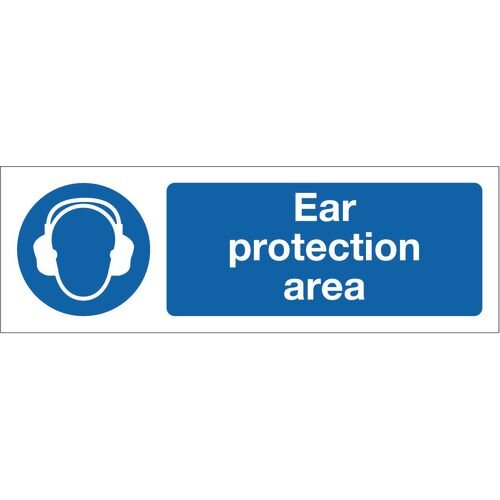 Sign Ear Protection Area 600x200 Rigid Plastic