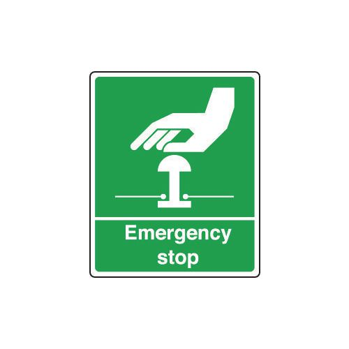 Sign Emergency Stop 75X100 Rigid Plastic Green