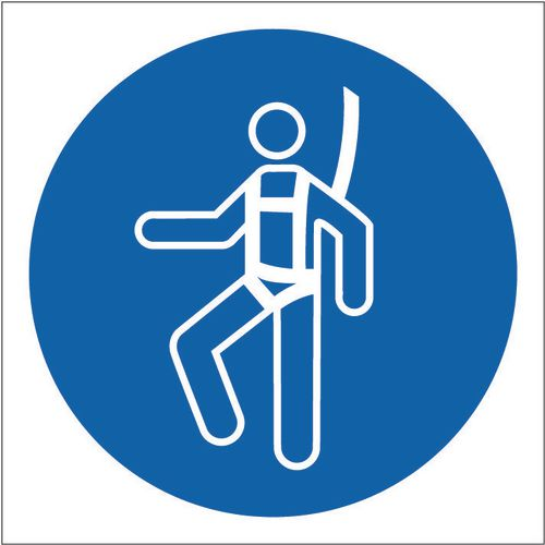 Sign Safety Harness Pic 100x100 Rigid Plastic