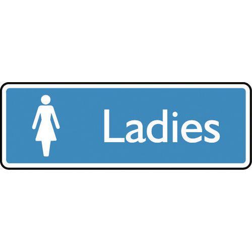 Sign Ladies 200X75 Rigid Plastic White On Blue