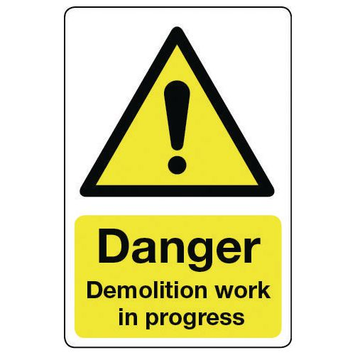 Sign Danger Demolition Work 600x200 Rigid Plastic