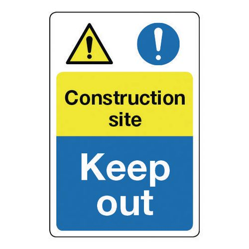 Sign Construction Site Keep Out 400x600 Rigid Plastic