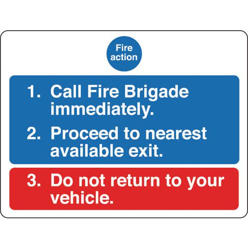 Sign Fire Action Notice 600x450 Rigid Plastic