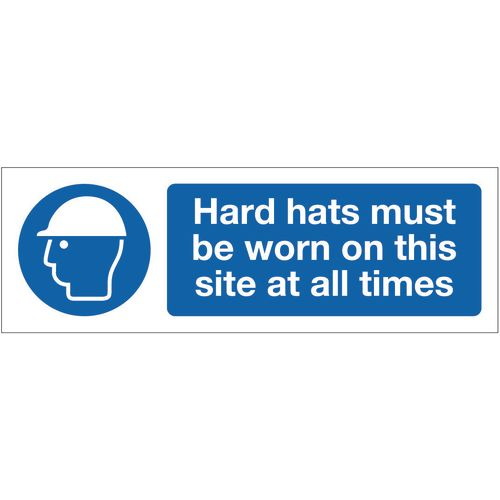 Sign Hard Hats Must Be Worn 600x200 Rigid Plastic