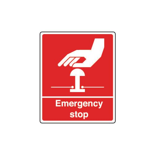 Sign Emergency Stop 75X100 Rigid Plastic Red