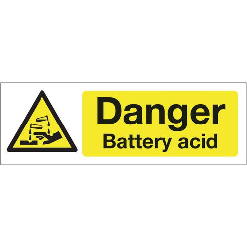Sign Danger Battery Acid 600x200 Rigid Plastic