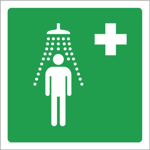 Sign Emergency Shower Pic 100x100 Rigid Plastic