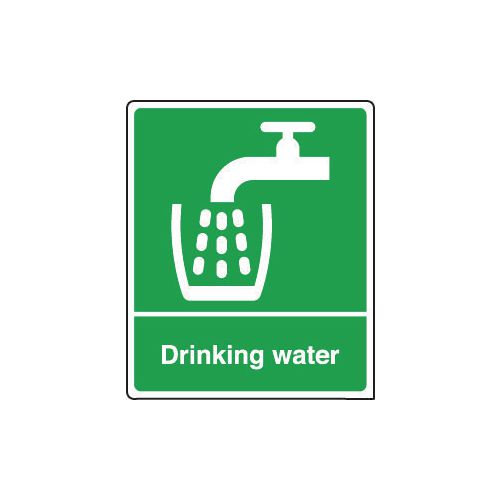 Sign Drinking Water 75x100 Rigid Plastic