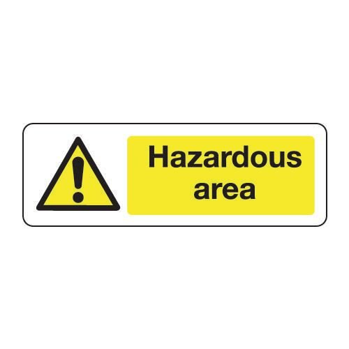 Sign Hazardous Area 300x100 Rigid Plastic