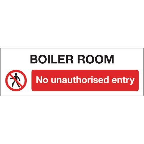 Sign Boiler Room No Unauth 600x200 Rigid Plastic