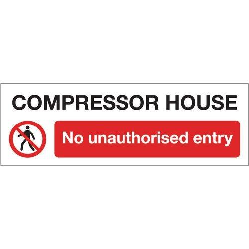 Sign Compressor House No 600x200 Rigid Plastic