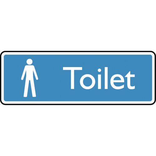 Sign Male Toilet 200X75 Rigid Plastic White On Blue