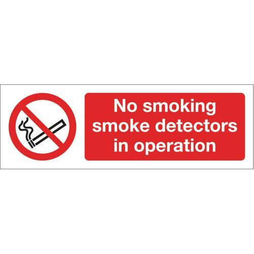 Sign No Smoking Smoke Detectors 300X100 Rgid Plastic