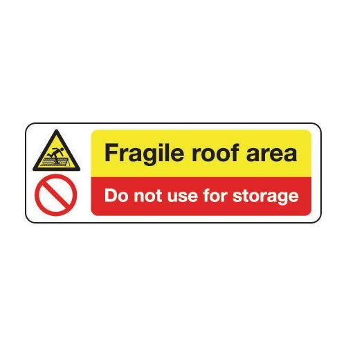 Sign Fragile Roof Area Do Not 300x100 Rigid Plastic