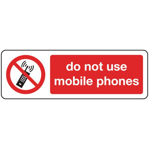 Sign Do Not Use Mobile Phones Rigid Plastic 600x200