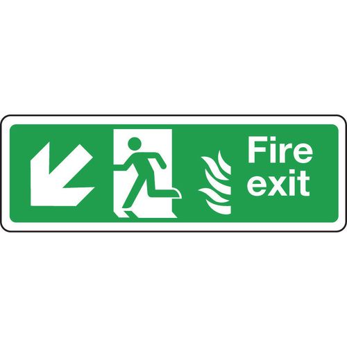 Sign Fire Exit Arrow L Down 350x100 Rigid Plastic