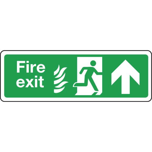 Sign Fire Exit Arrow Up 350x100 Rigid Plastic