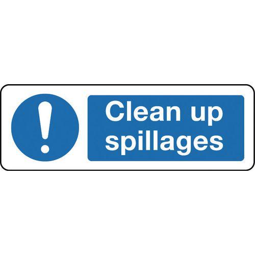 Sign Clean Up Spillages 600x200 Rigid Plastic